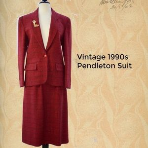 Vintage Pendleton ~ Red & Blue Skirt Suit ~ Sz 12